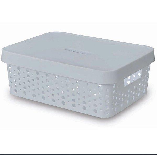 Caixa Organizadora rattan 11L com tampa branco