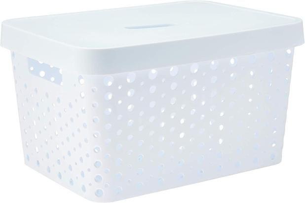 Caixa Organizadora rattan 17L com tampa branco