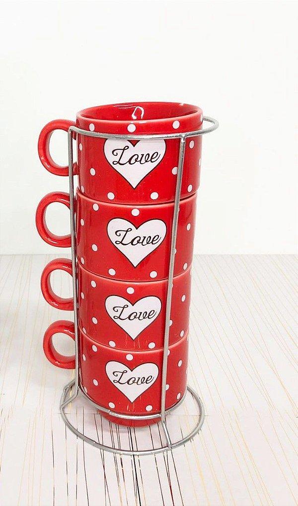 Torre de xícaras para chá de porcelana empilháveis