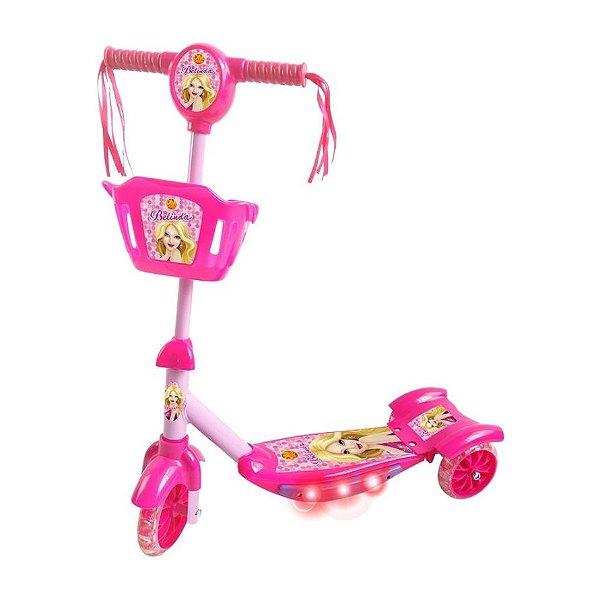 Patinete com som e luz rosa - sonho de princesa com cesta DMR5027