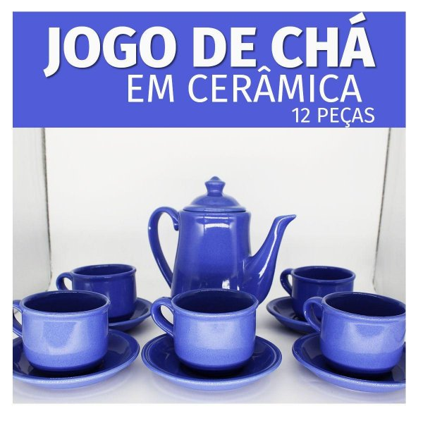 JOGO DE CHA EM CERAMICA COM BULE 1.2L - BLUE 12PCS UD692