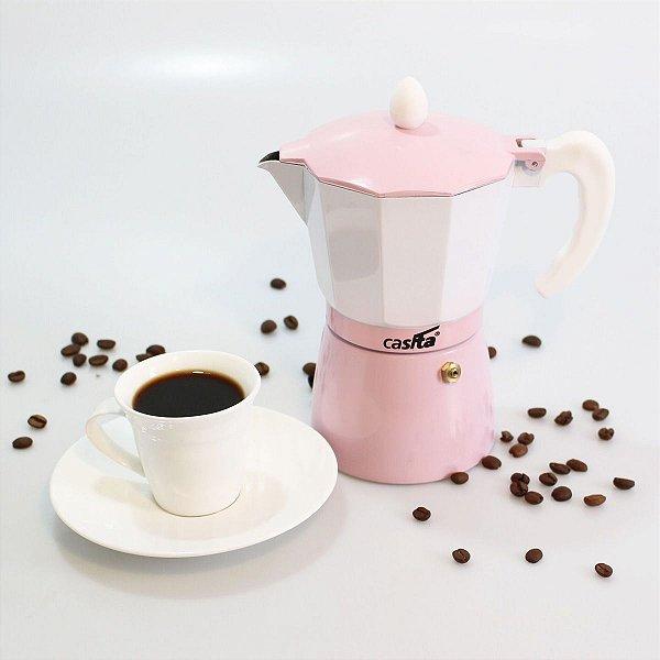 Cafeteira Italiana Rosa - 6 xícaras