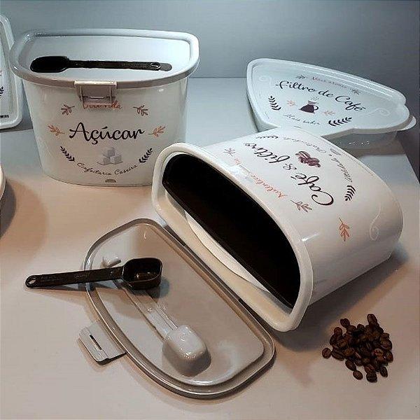 Pote para café e filtro com colher - Fendi