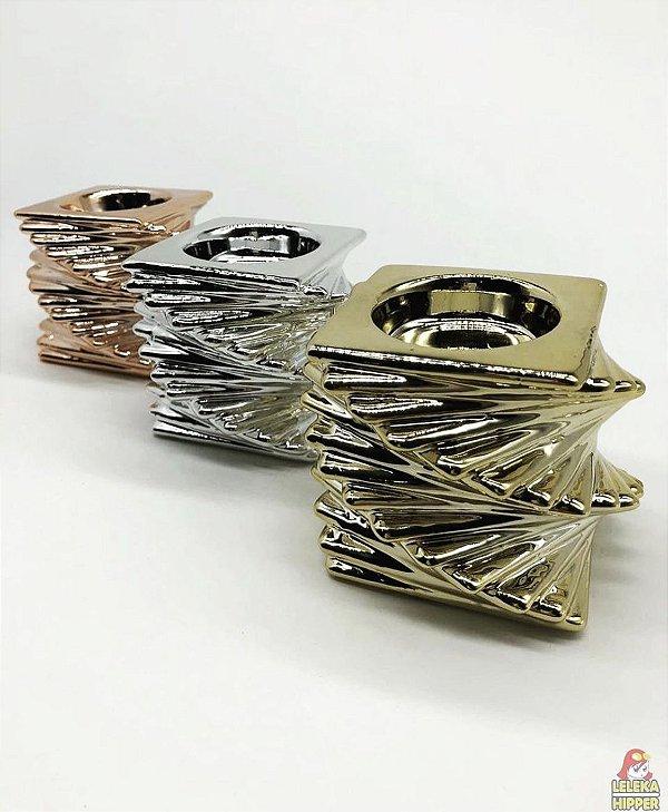 Candelabro metalizado de cerâmica