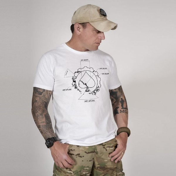 Camiseta de Algodão Estonada Branca First Principle