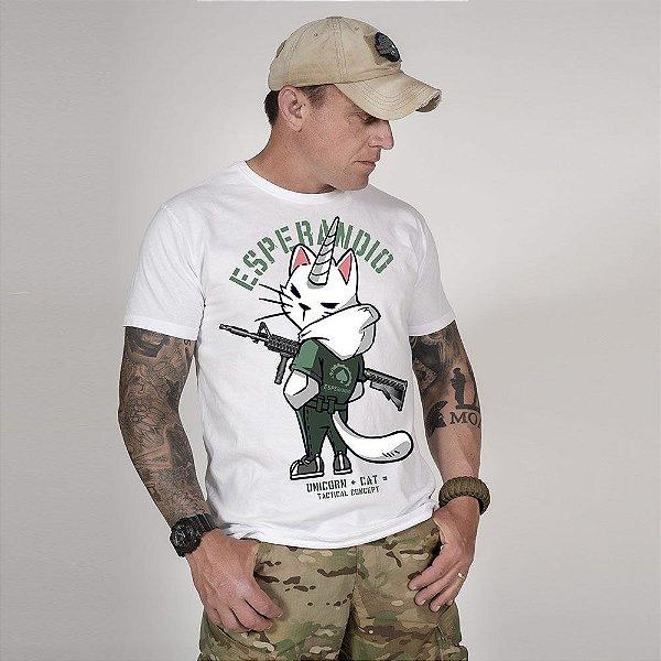Camiseta de Algodão Estonada Branca Catcorn