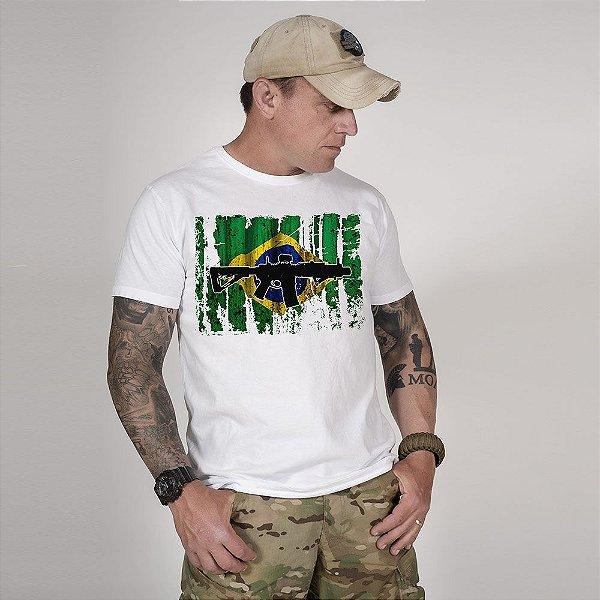 Camiseta de Algodão Estonada Branca Resist