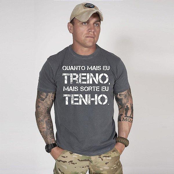 Camiseta de Algodão Estonada Chumbo Train And Lucky