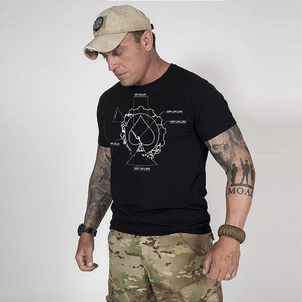 Camiseta de Algodão Estonada Preta  First Principle