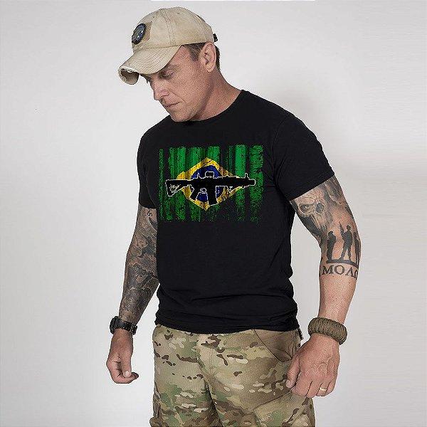 Camiseta de Algodão Estonada  Preta Resist