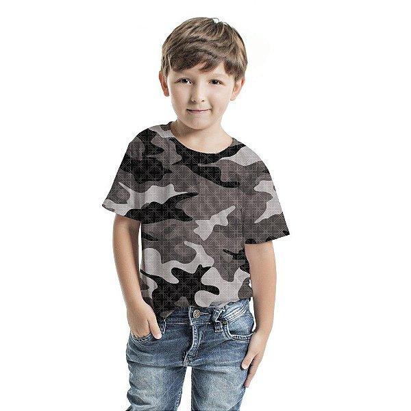Camiseta Básica Infantil Camuflado Cinza