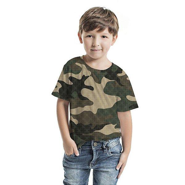 Camiseta Básica Infantil Camuflado Verde Musgo