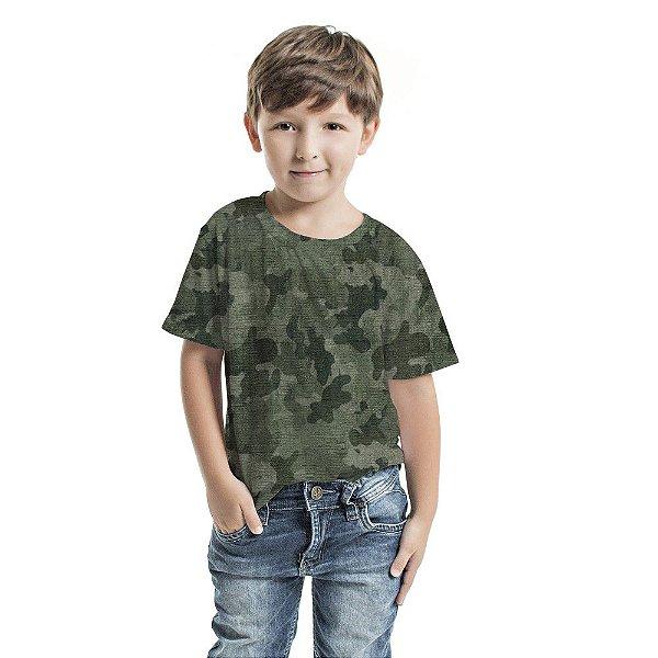 Camiseta Básica Infantil Camuflado Verde