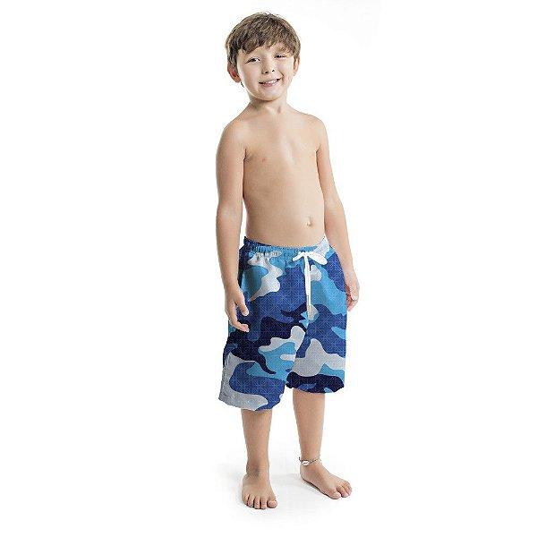 Bermuda Infantil Masculina  Camuflado Azul