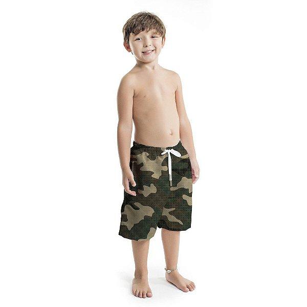 Bermuda Infantil Masculina Camuflado Verde Musgo