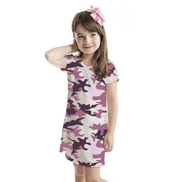 Vestido Infantil Vanilla Camuflado Lilás