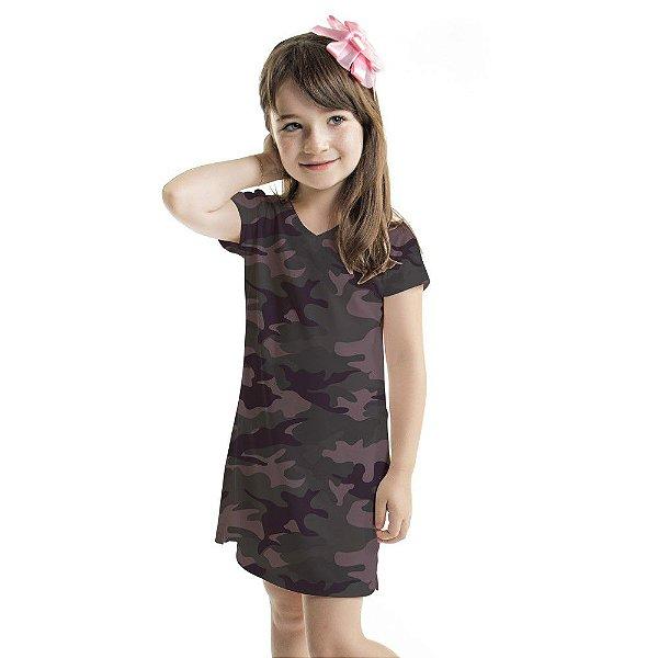 Vestido Infantil Vanilla Camuflado Lilás e Chumbo