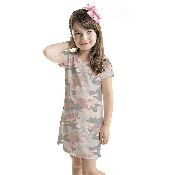 Vestido Infantil Vanilla Camuflado Rosa