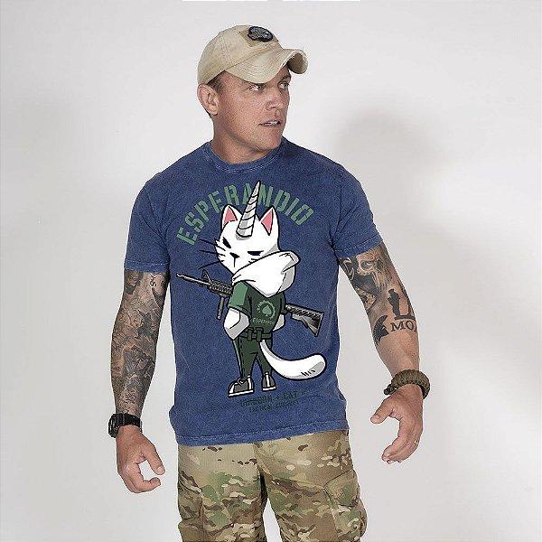 Camiseta de Algodão Estonada Marinho Sky Catcorn