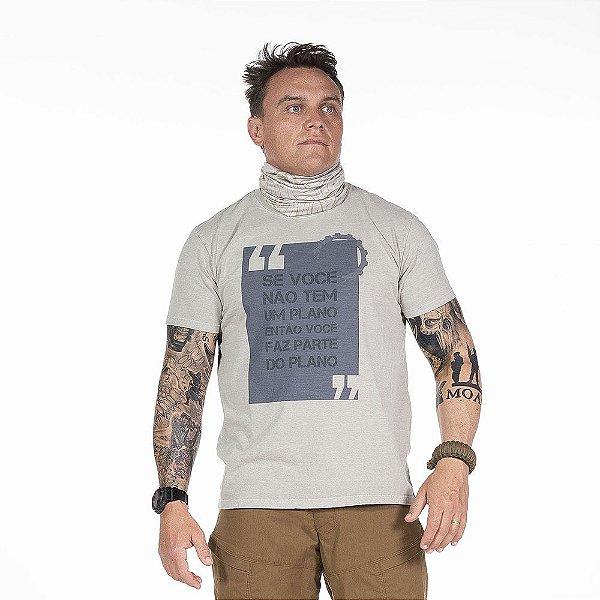 Camiseta de Algodão Estonada Cinza Plan Concept