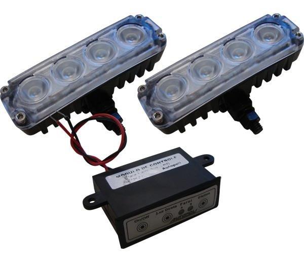 Kit Farol Auxiliar Power Slim 4 Leds Super Bco 12v 4w Al204