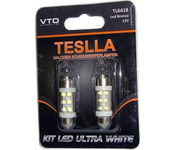 Kit Lâmpada Led Kit Led Torpedo 36Mm 6418 12V Branco (Par)
