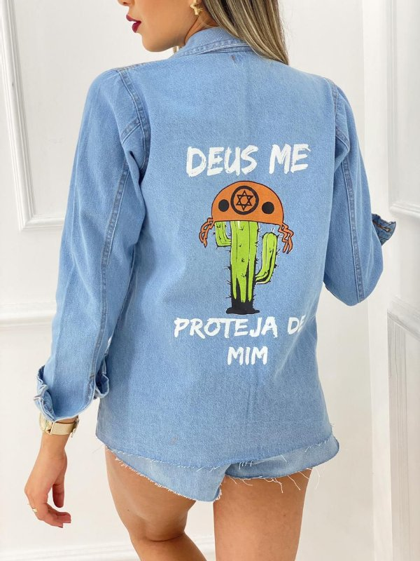 Jaqueta Jeans Deus Me Proteja De Mim