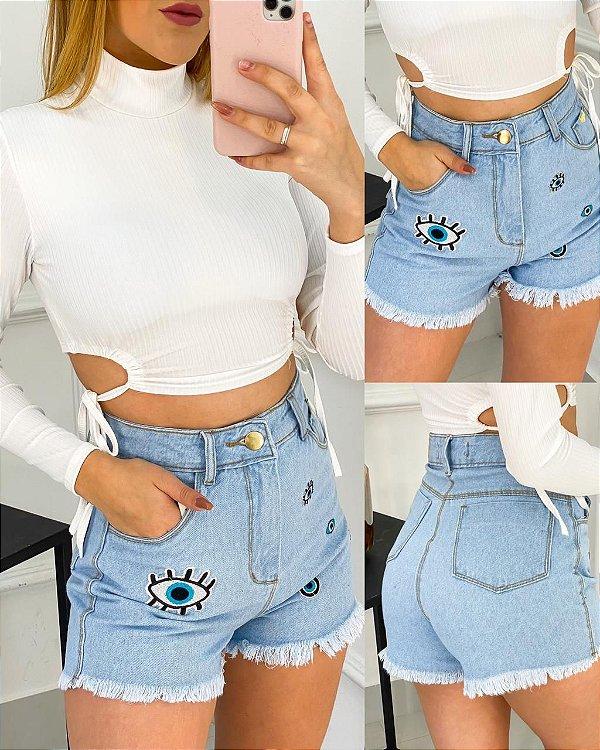 Short Jeans Olho Grego