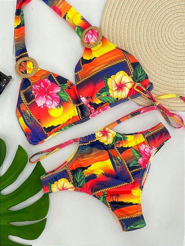 Biquíni Argola Estampa Tropical Flores