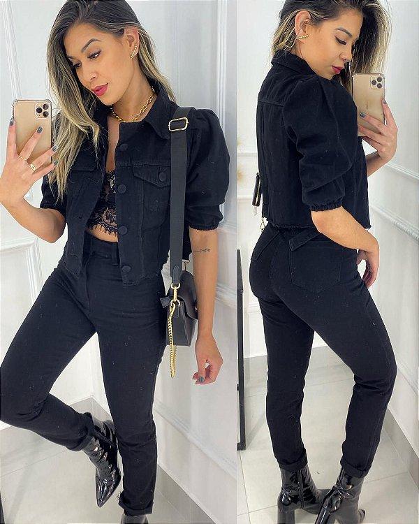 Jaqueta Cropped Jeans Manga Bufante Preta