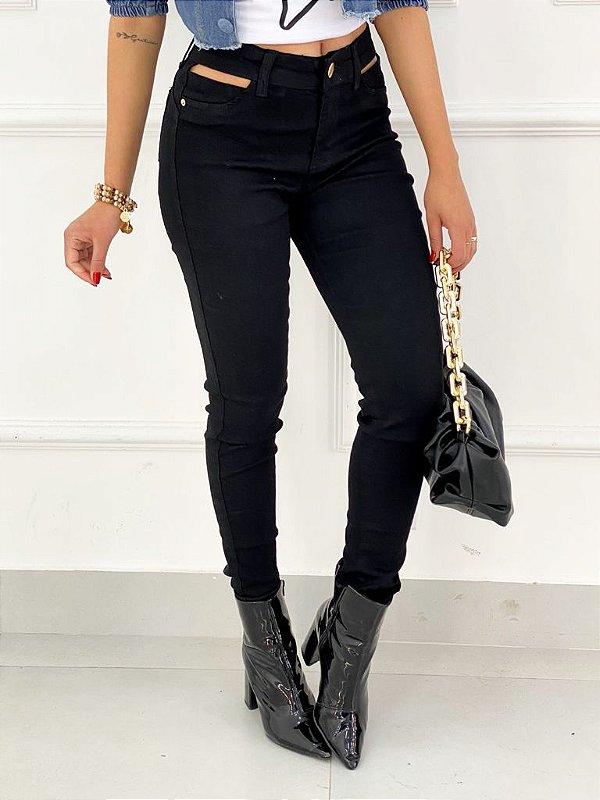 Calça Jeans Preta Bolso Vazado