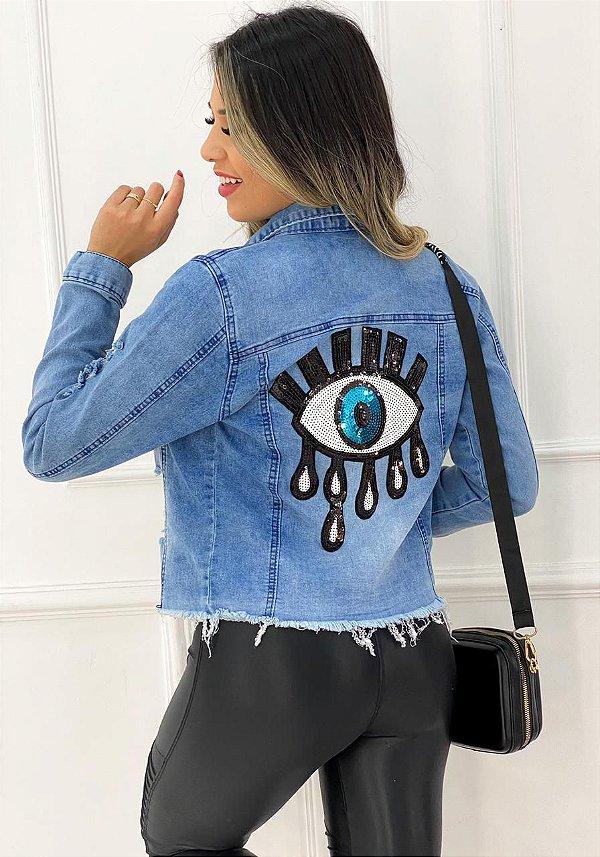 Jaqueta Jeans Desfiados Lantejoula Olho