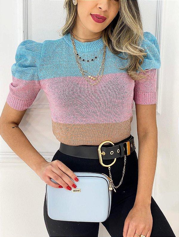 Blusa Tricot Lurex Brilho Azul, Rosa E Marrom