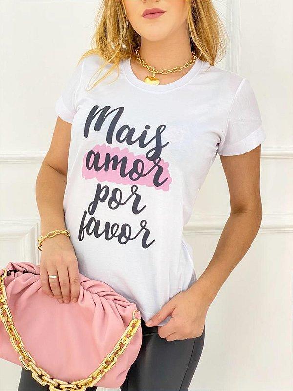 T-Shirt Poliéster Mais Amor Por Favor