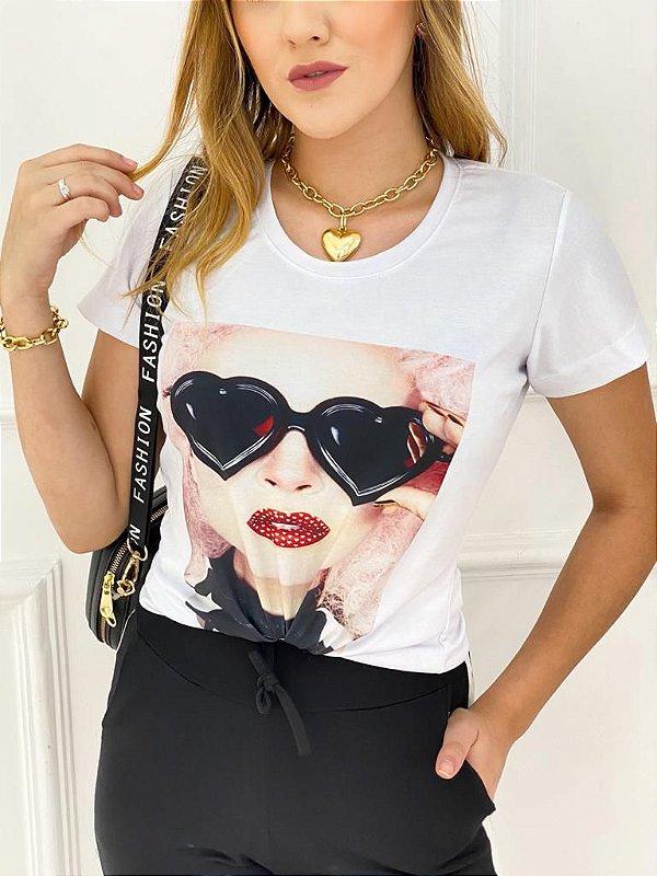 T-Shirt Poliéster Óculos Coração