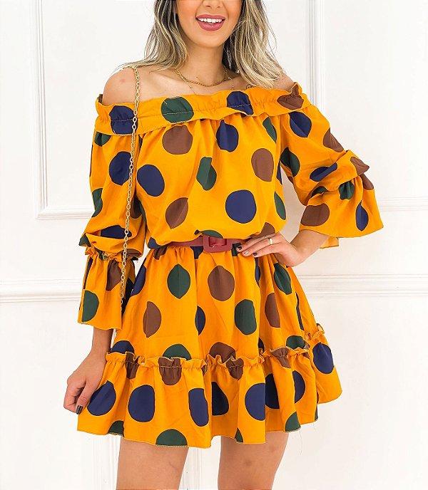 Vestido Curto Manga Babado Amarelo Poá