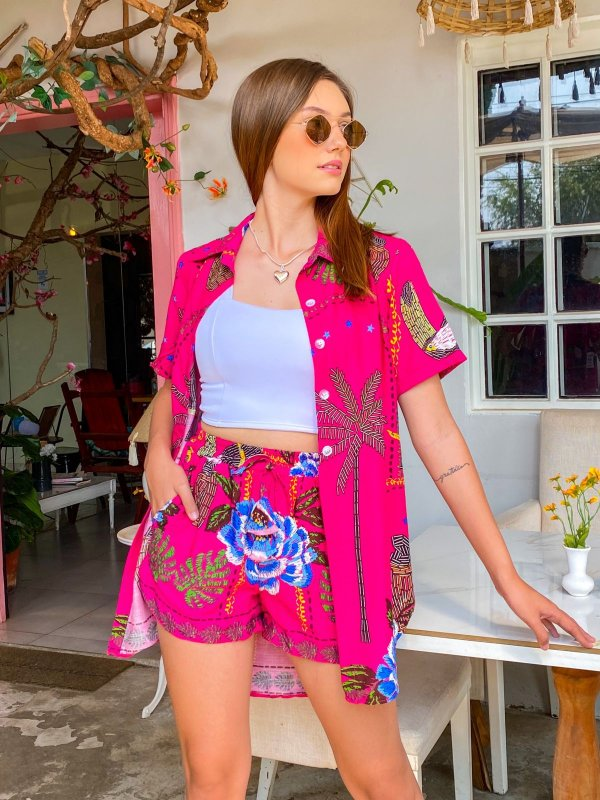 Conjunto Tropical Camisa Manga Curta E Short Rosa