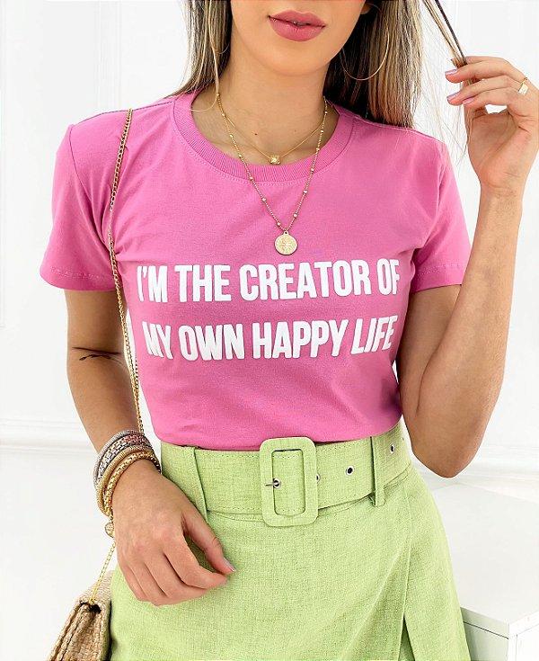 T-Shirt Estampa Creator Of My Own Happy Life