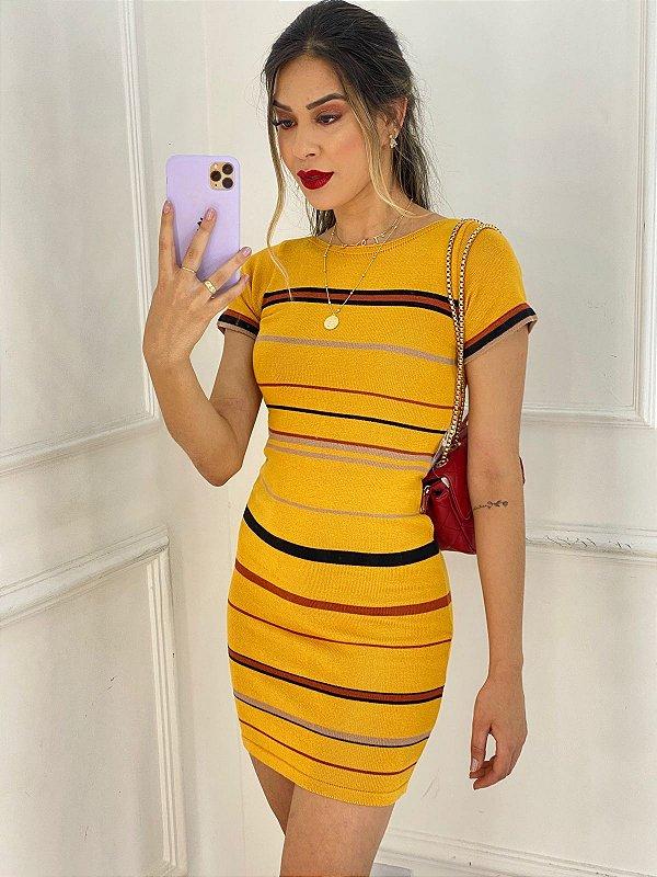 Vestido Tricot Amarelo Listras