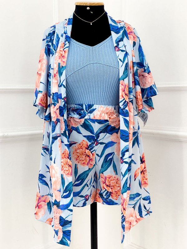 Conjunto Colete E Short Azul Flowers