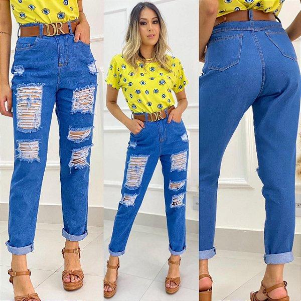 Calça Jeans Mom Desfiada Meio Escura