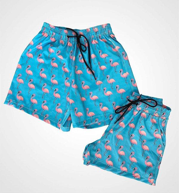 Short Mauricinho MASCULINO Azul Flamingos