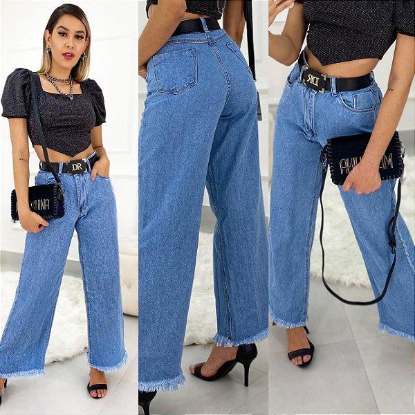 Calça Jeans Pantalona Barra Desfiada
