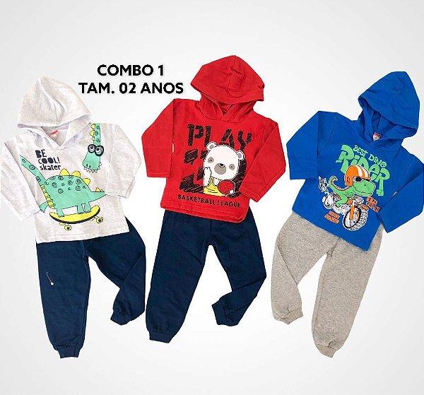 3 Conjuntos Moletom Kids - 02 ano Menino