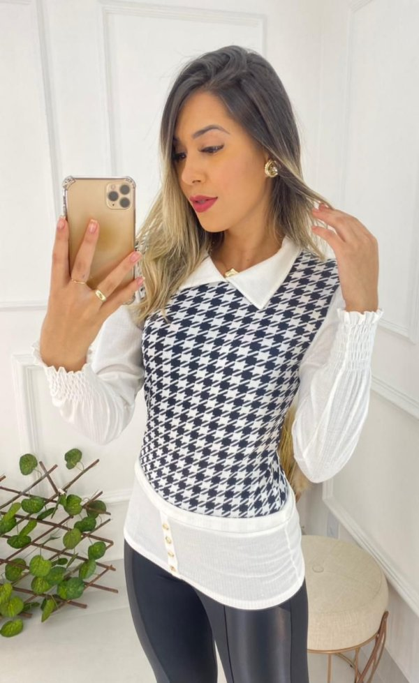 Suéter canelado Xadrez