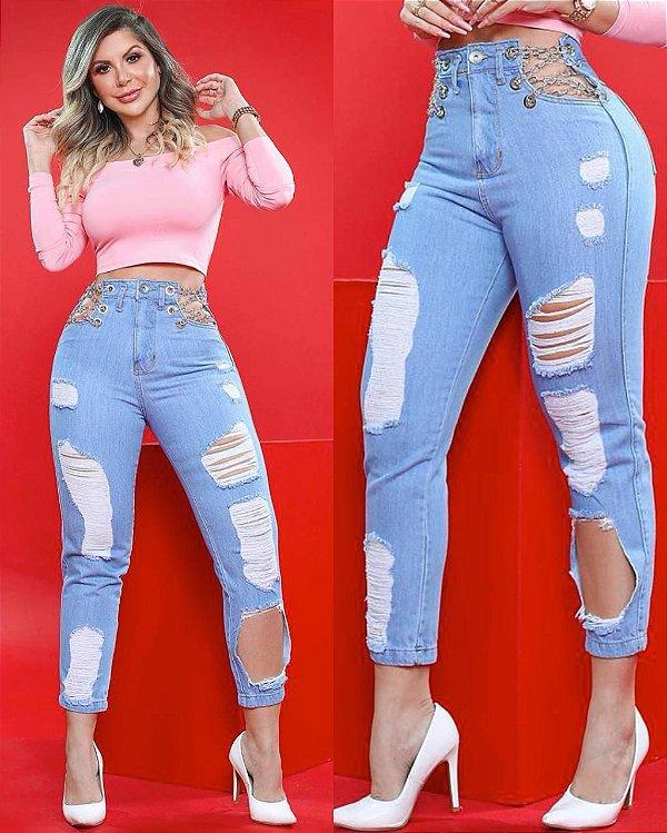 Calça Jeans Style Correntes