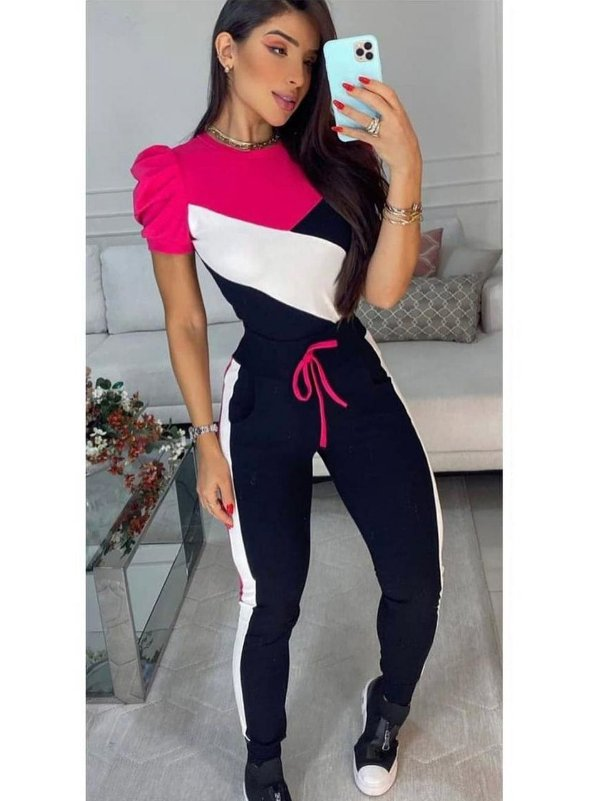 Conjunto Moletinho Pink, Preto e Branco