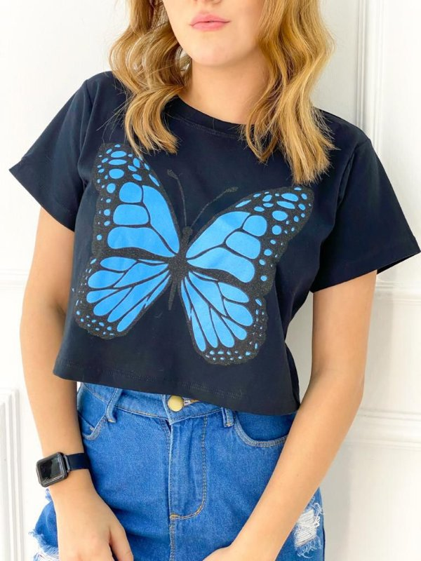 T-Shirt Cropped Butterfly