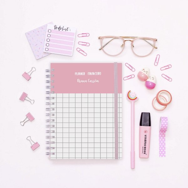 Planner Financeiro - Rosa quadriculado