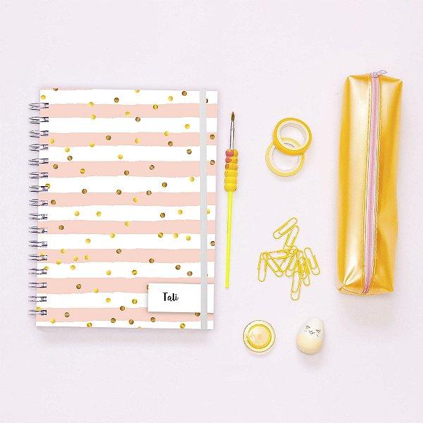 Caderno - Poá dourado